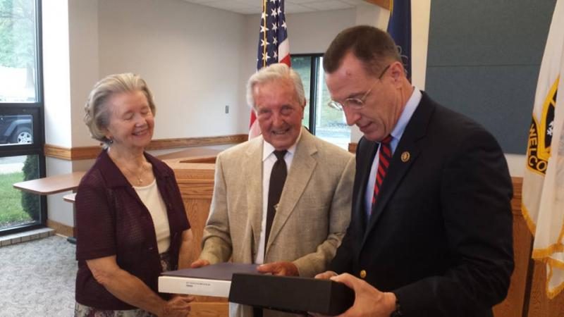 U.S. Congressman Tim Murphy presents 90 year old Don Maloney and his wife Pat the Medals he so richly deserved!