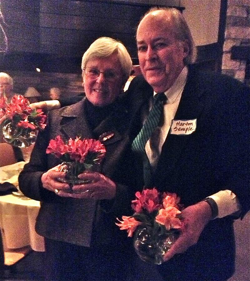At the end of the evening, Susan Holton was presented with one of the table decorations for her hard work in helping to make the evening a success. She is seen here with her co-worker, Harton Semple, both of the Sewickley Valley Historical Society.