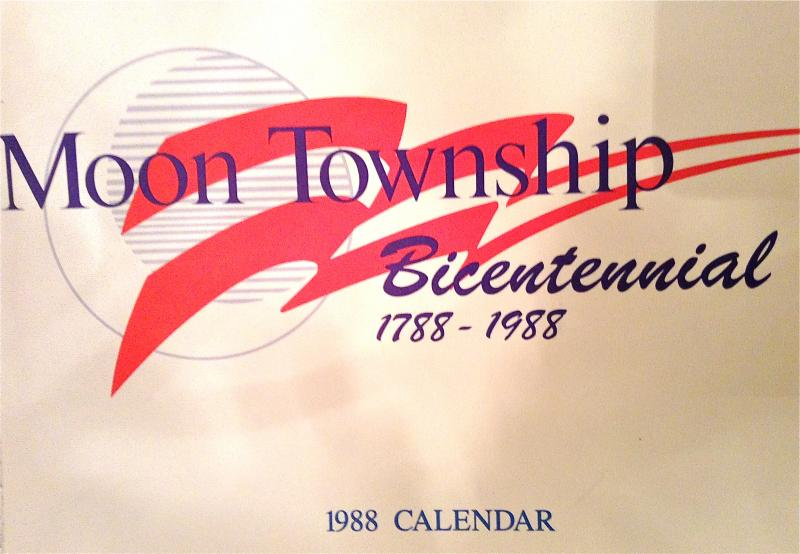 Many of the photos of the historic homes in Old Moon shown in the PowerPoint presentation Debbie Kennedy gave, came from this Bicentennial calendar of Moon Township from the 1788-1988 Bicentennial.